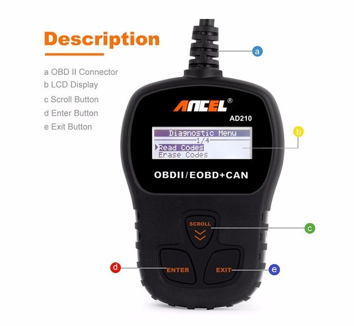 Диагностический автосканер Ancel AD210 на русском языке - 1